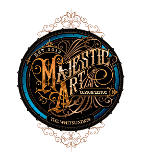 Majestic Art Tattoo's Logo, Tattoo Shop in Airlie Beach, The Whitsundays